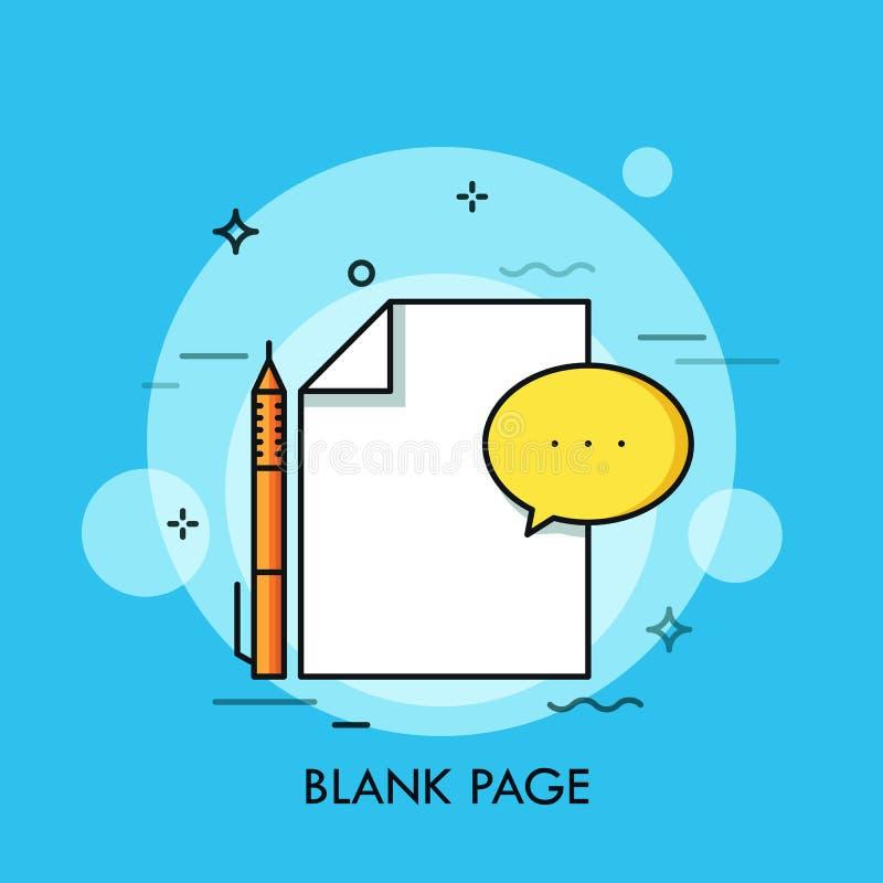 Witte blad, pen en toespraakbel Blanco pagina, leeg document, schoon document, vorm in te vullen Concept nieuw begin stock illustratie