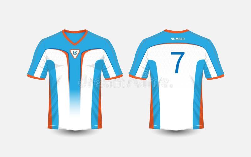 Witte, blauwe en oranje de voetbaluitrustingen van de patroonsport, Jersey, het malplaatje van het t-shirtontwerp royalty-vrije illustratie