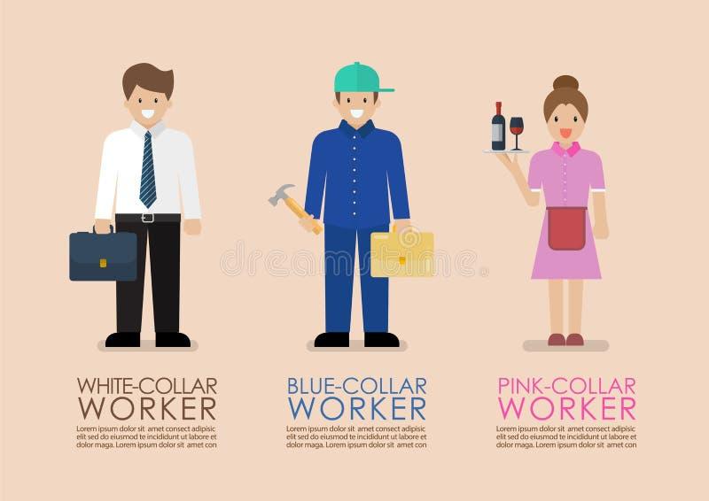Witte Blauwe en Roze infographic kraagarbeiders royalty-vrije illustratie