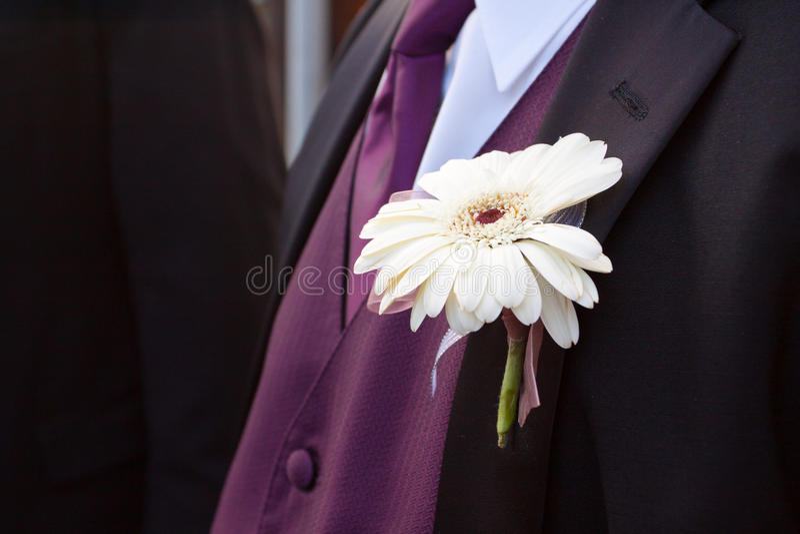 Witte Bloem Boutineer stock fotografie