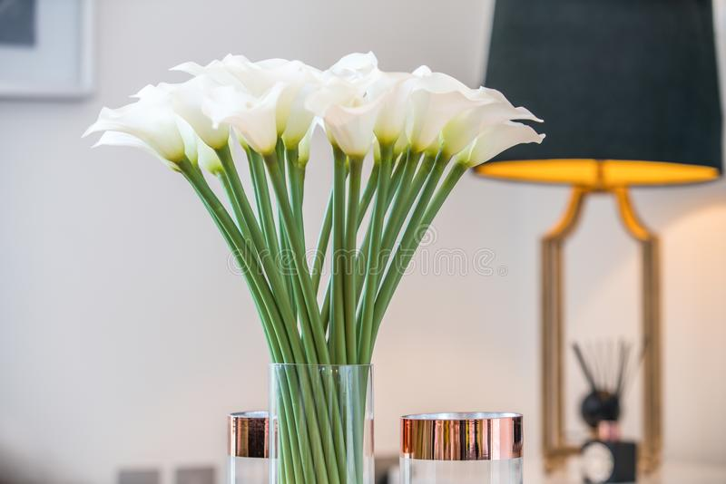Witte bloemen in een vaas royalty-vrije stock afbeelding