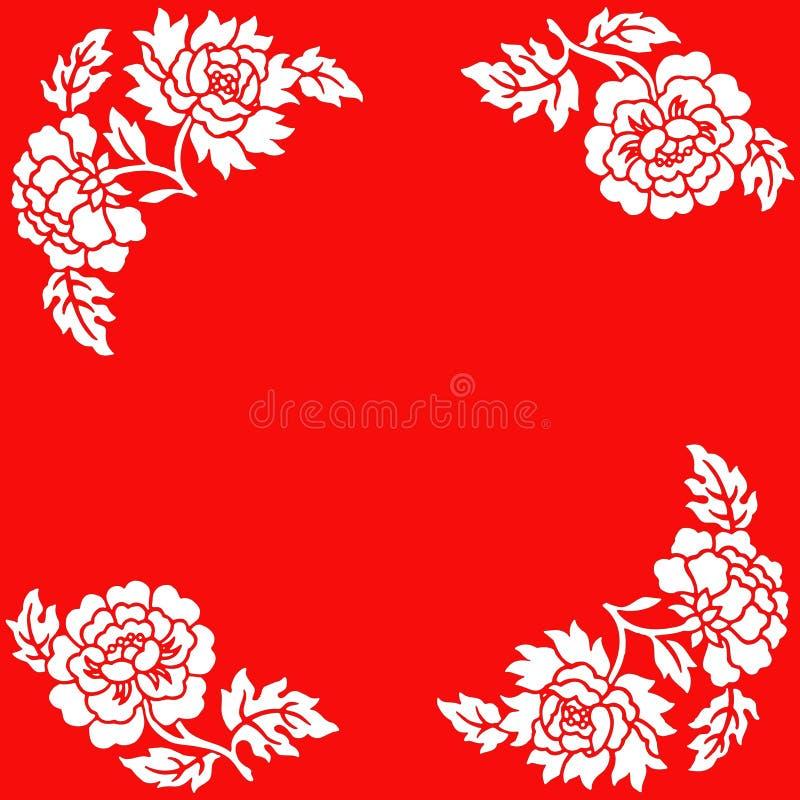 Witte bloemen op rode achtergrond royalty-vrije stock foto's