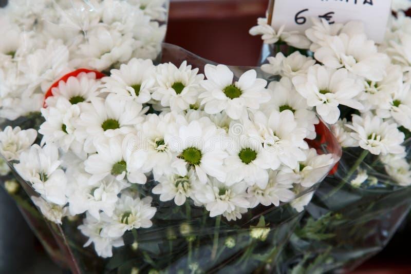 Witte bloemenboeketten in detail royalty-vrije stock fotografie