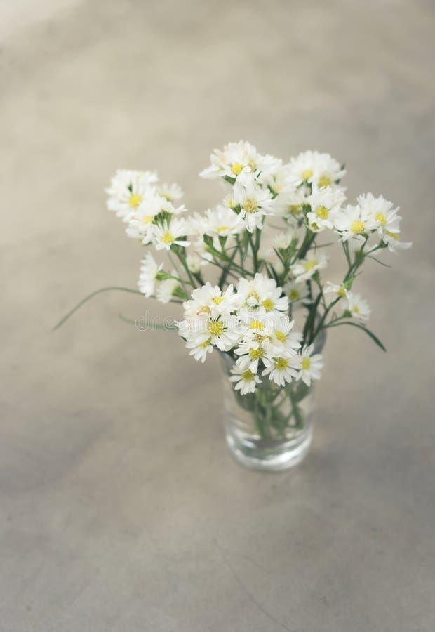 Witte bloemenbos in vaas royalty-vrije stock foto