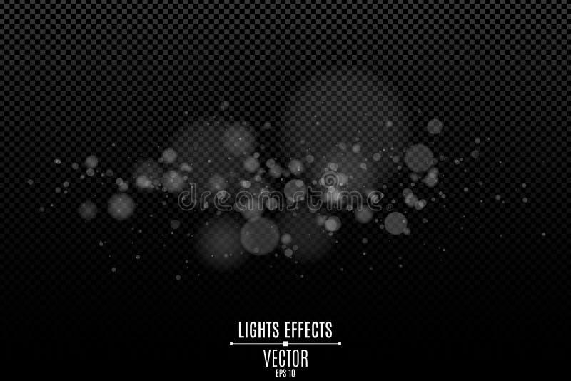 Witte bokehlichten op een transparante achtergrond Lichteffect voor uw ontwerp Glans van de cameralens Het vertroebelen van deelt stock illustratie