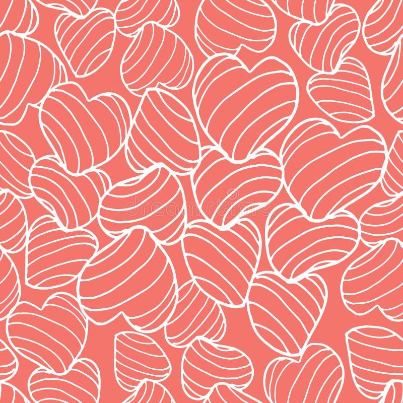 Witte bouncy gestreepte die harten van de lijnkunst samen op een heldere koraalachtergrond worden ingepakt Naadloos vectorpatroon vector illustratie