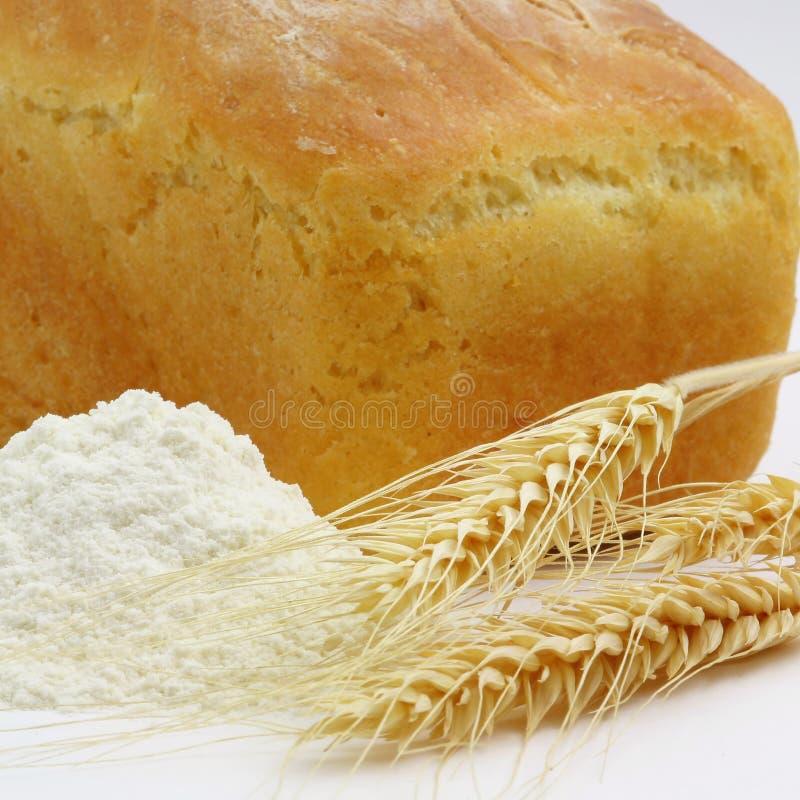 Witte Brood en Aren van Tarwe en Tarwemeel stock foto