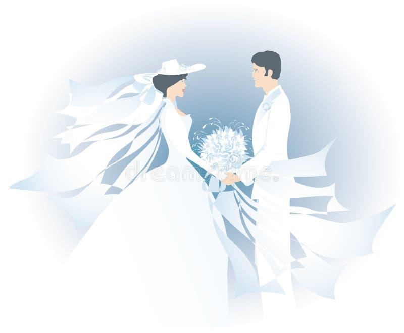 Witte bruid en bridegroom1 vector illustratie
