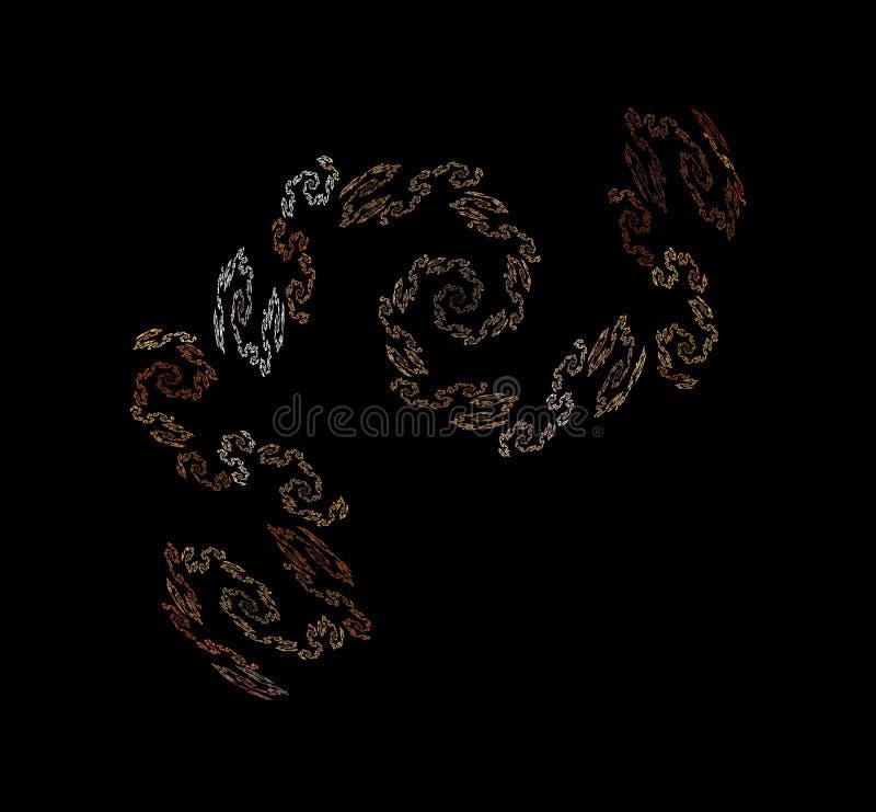 Witte bruine fractal op zwarte achtergrond Fantasiefractal textuur Digitaal art het 3d teruggeven Computer geproduceerd beeld royalty-vrije illustratie