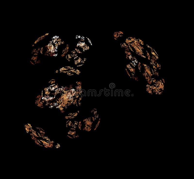 Witte bruine fractal op zwarte achtergrond Fantasiefractal textuur Digitaal art het 3d teruggeven Computer geproduceerd beeld stock illustratie