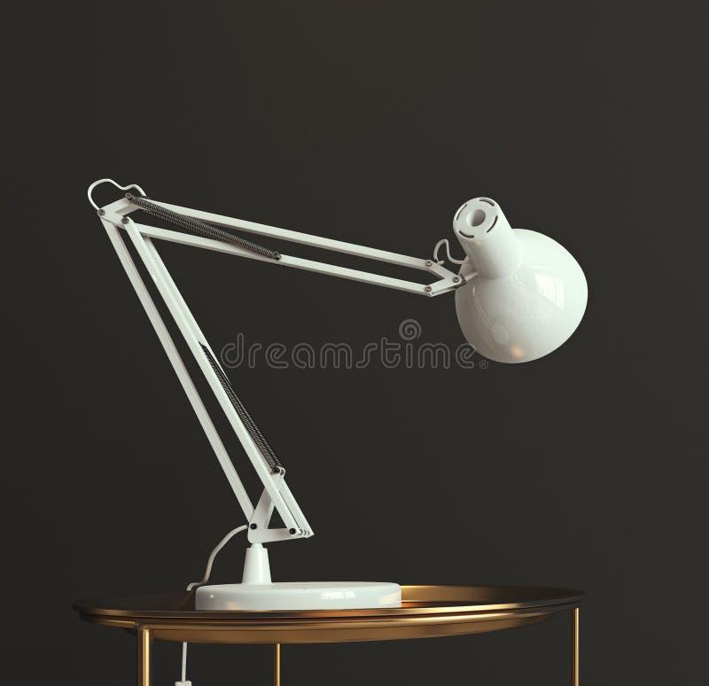 witte bureaulamp die op lege donkergrijze muur, exemplaarruimte, malplaatje, kaart glanzen vector illustratie