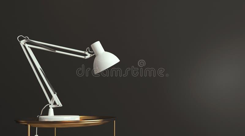 Witte bureaulamp die op lege donkergrijze muur, exemplaarruimte, malplaatje, kaart glanzen royalty-vrije illustratie