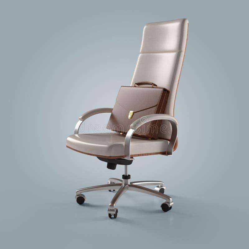 Witte bureaustoel en aktentaszakenman stock illustratie