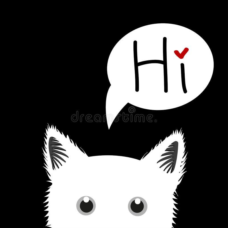 witte Cat Sneaking Greeting Card royalty-vrije illustratie