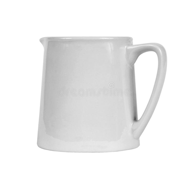 Witte ceramische geïsoleerde waterkruik stock fotografie