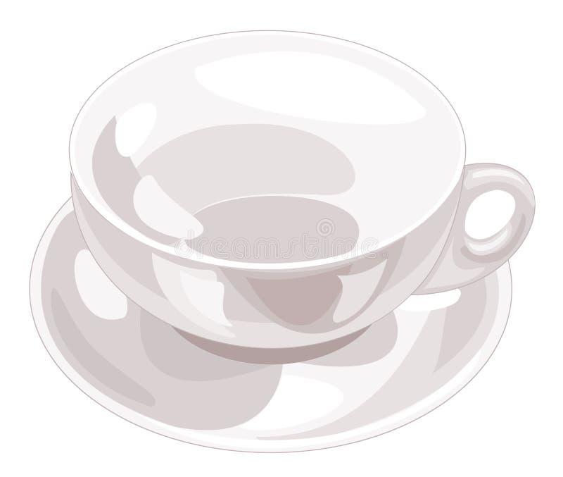 Witte ceramische kop in een reeks met een kom Vector illustratie royalty-vrije illustratie