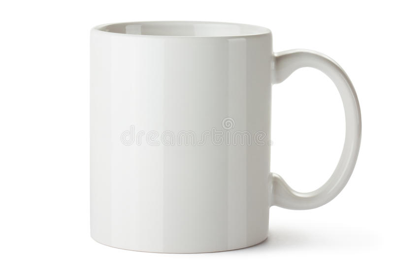 Witte ceramische mok stock afbeeldingen
