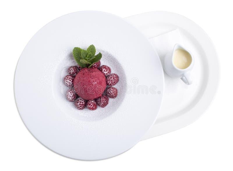 Witte chocoladesoep met roomijs stock fotografie
