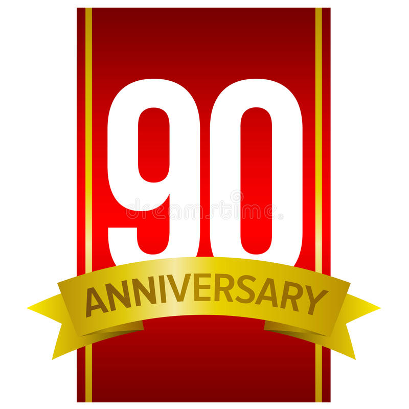 Witte cijfers 90 op rode achtergrond Negentig jaar teken royalty-vrije illustratie