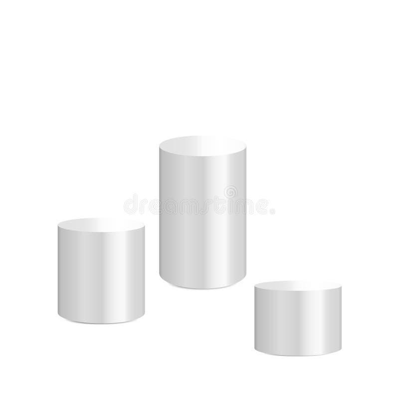 Witte cilindertribune die op witte achtergrond wordt geïsoleerd Platform, podium om diverse voorwerpen te adverteren Vector illus royalty-vrije illustratie