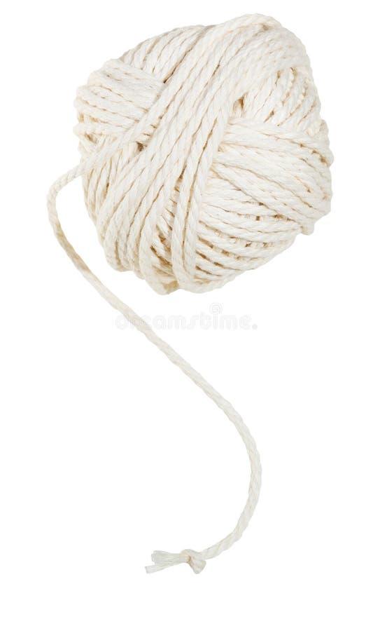 Witte clew van katoenen geïsoleerde draad royalty-vrije stock foto