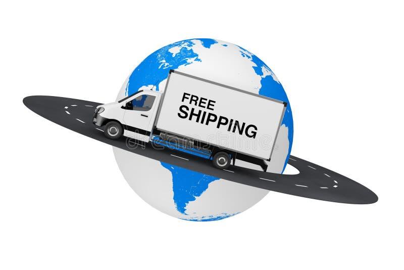 Witte Commerciële Industriële Ladingslevering Van Truck met Vrij S stock illustratie