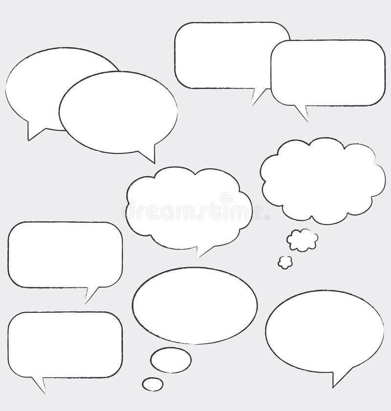 Witte commic toespraakbellen. stock illustratie