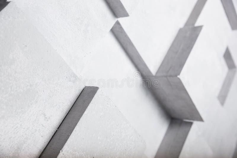 Witte concrete muur met de decoratieachtergrond van de kubusmeetkunde stock illustratie
