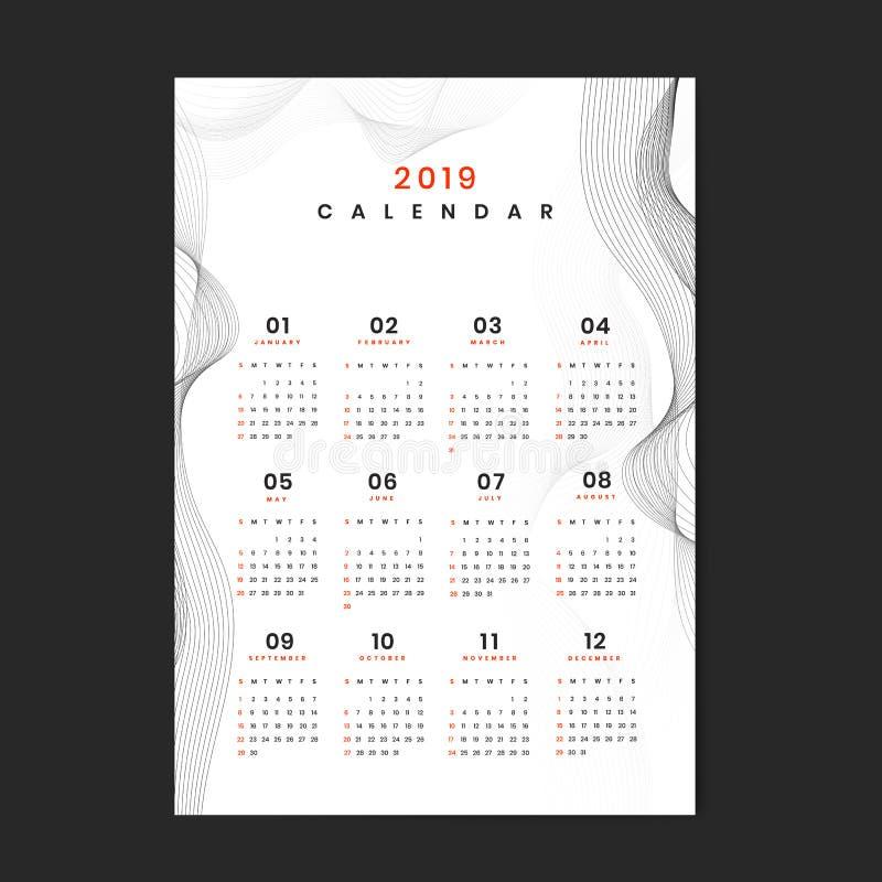 Witte contour gevormde kalender 2019 vector royalty-vrije illustratie