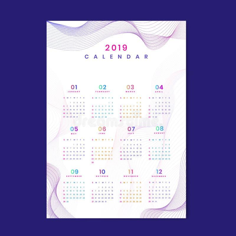 Witte contour gevormde kalender 2019 vector stock illustratie