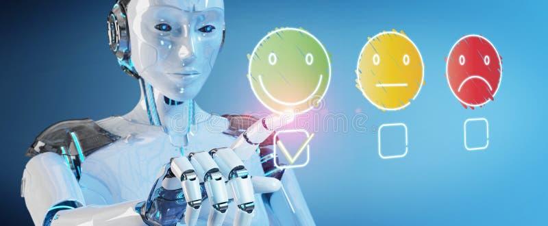 Witte cyborg die dunne de tevredenheidsclassificatie gebruiken van de lijnklant stock illustratie