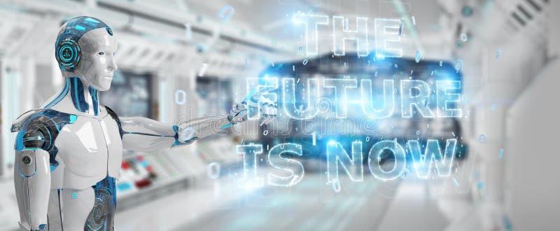 Witte cyborg die het toekomstige de interface van de besluittekst 3D teruggeven gebruiken stock illustratie