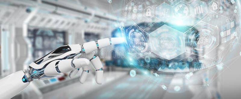 Witte cyborghand die het digitale grafiekinterface 3D teruggeven gebruiken stock illustratie