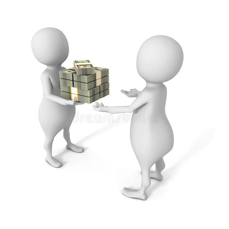Witte 3d mens die bundel van dollars geven aan een andere persoon stock illustratie