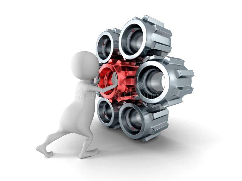 Witte 3d mens die rood tandradtoestel duwen aan mechanisme stock illustratie