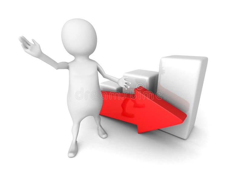 Witte 3d mens die succesvolle bedrijfsgrafiek met pijl voorstellen vector illustratie