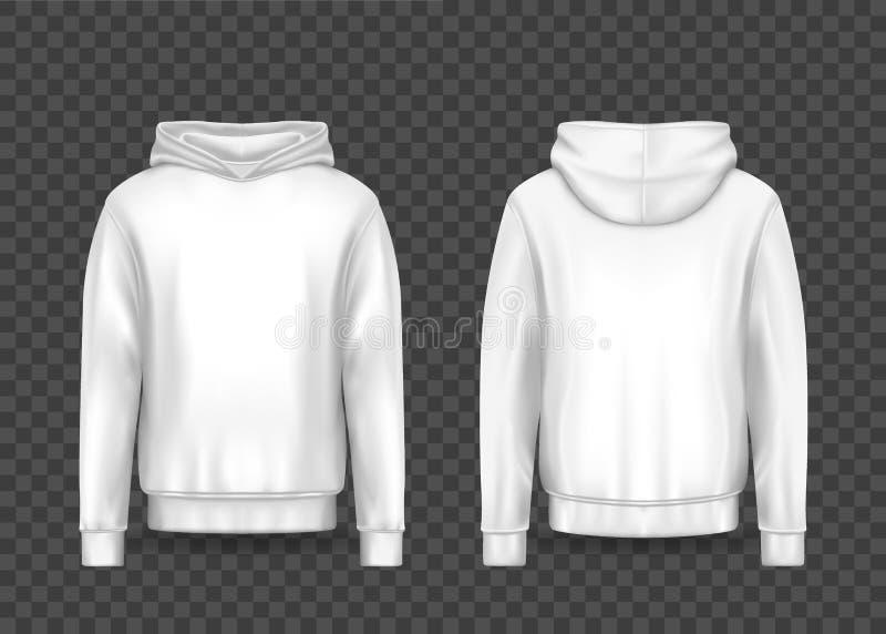 Witte 3d mens hoodie of realistisch mensen hoody model vector illustratie