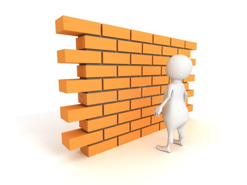 Witte 3d mens met bakstenen muur stock illustratie
