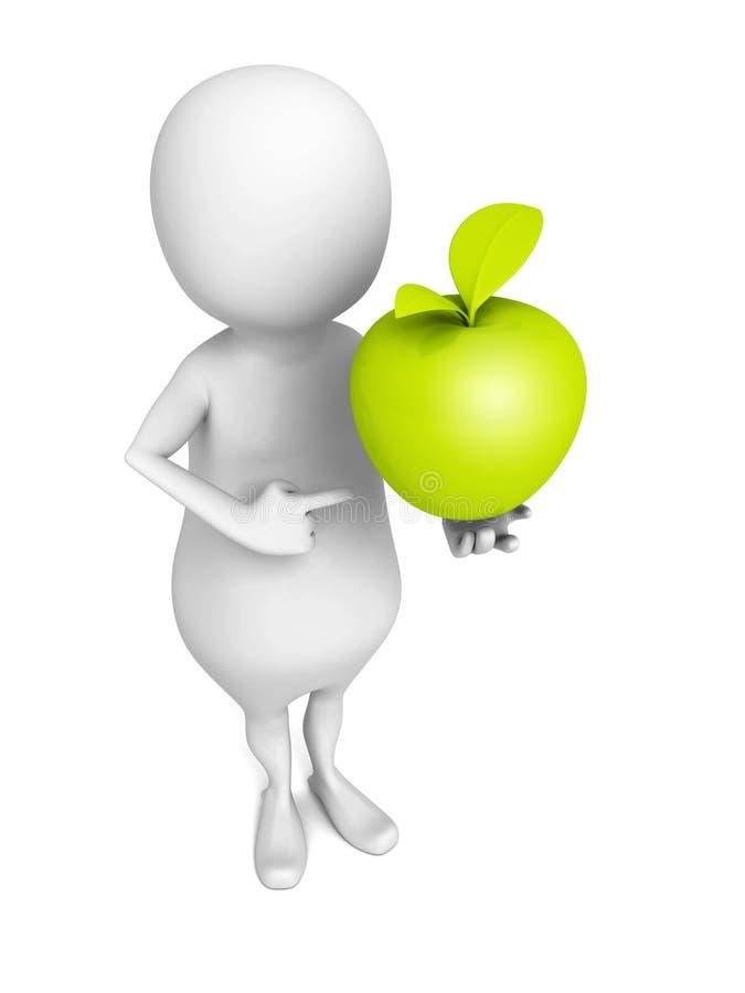 Witte 3d mens met groene verse appel vector illustratie
