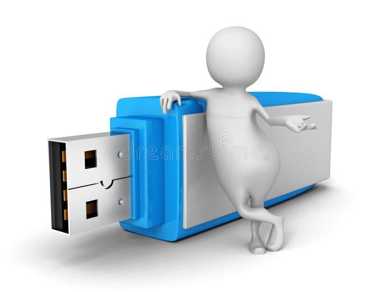 Witte 3d Mens met USB-de Stok van de Flitsaandrijving vector illustratie