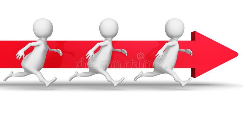 Witte 3d Mensen Team Running Forward Arrow De succeszaken bedriegen royalty-vrije illustratie