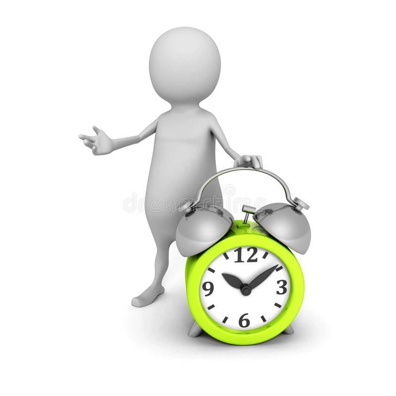 Witte 3d persoon met groene wekker Het concept van de tijd vector illustratie