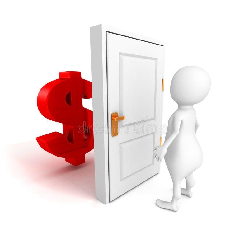Witte 3d persoon met het symbool van de dollarmunt achter deur royalty-vrije illustratie