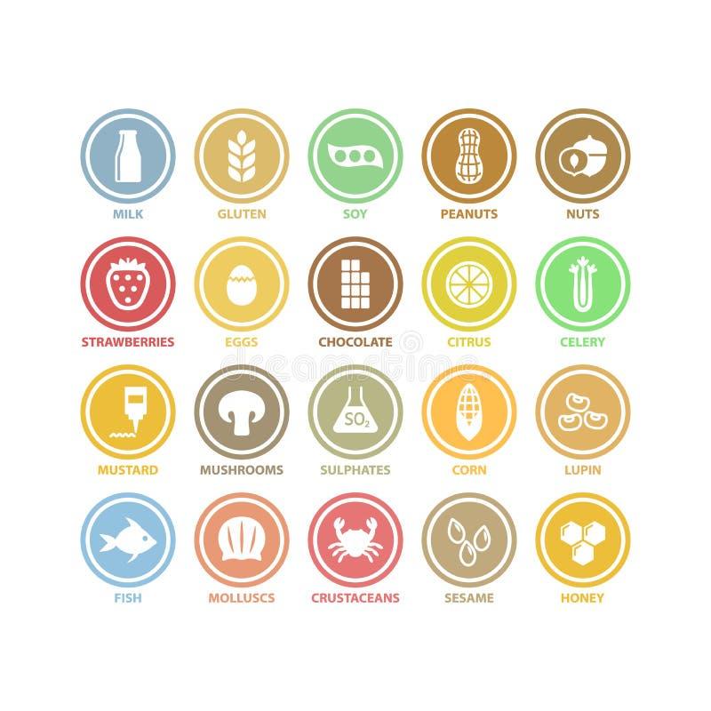 Witte de cirkel vectortekens van voedselallergenen in kleurrijke etiketten royalty-vrije illustratie