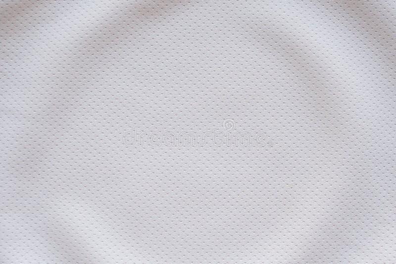 Witte de kledingsvoetbal Jersey van de stoffensport met de textuur van het luchtnetwerk royalty-vrije stock foto's