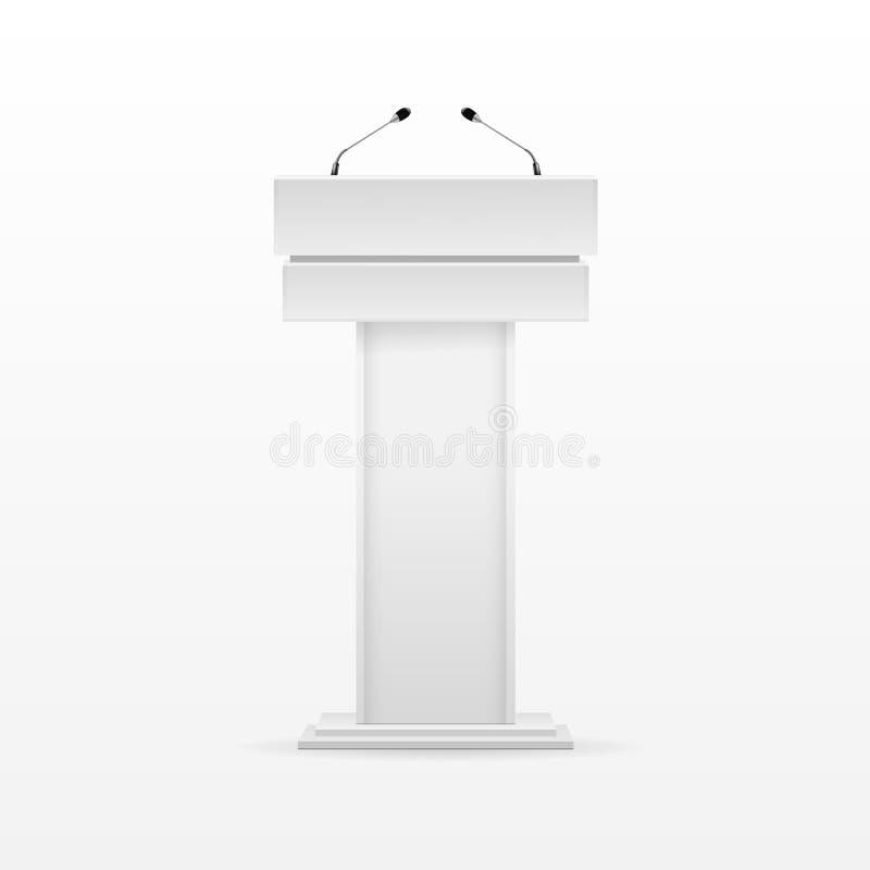 Witte de Rostratribune van de Podiumtribune met Microfoon stock illustratie