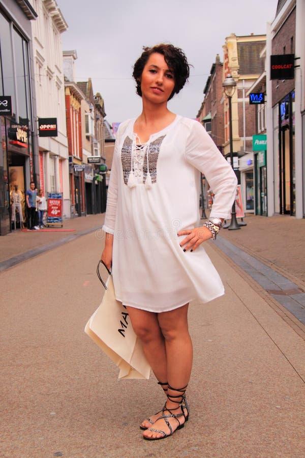 Witte de stijlmanier van de uniformjasstraat royalty-vrije stock afbeelding
