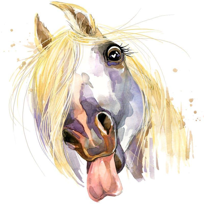 Witte de T-shirtgrafiek van de paardkus paardillustratie met de geweven achtergrond van de plonswaterverf