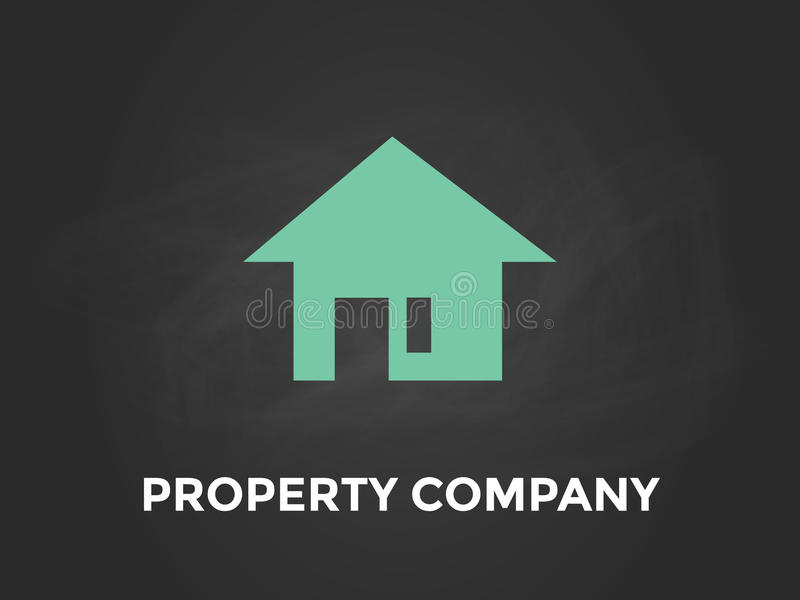 Witte de tekstillustratie van het bezitsbedrijf met groen silhouet van een huis en een zwarte achtergrond stock illustratie