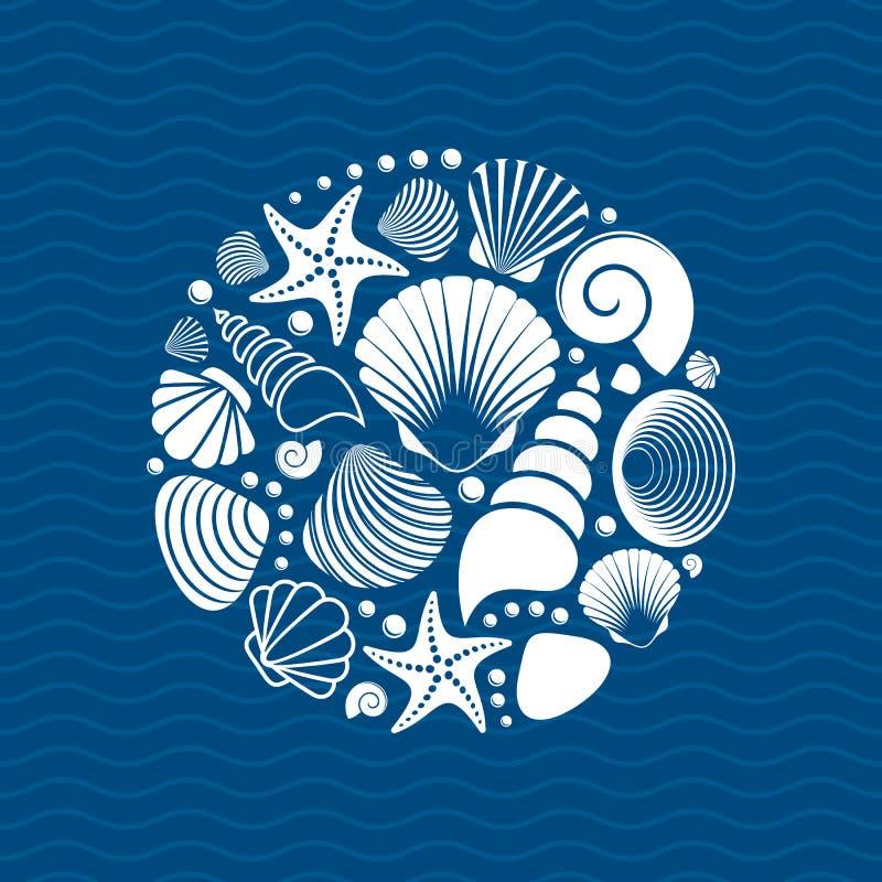 Witte de zomer overzeese shells vector illustratie